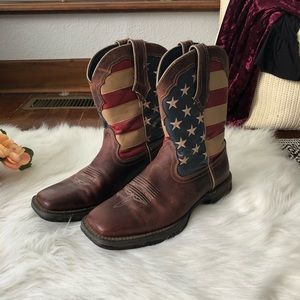 Durango American Flag Boots Brown Square Toe